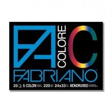 34947 - Blocco Facolore (240X330Mm) 25Fg 220Gr 5 Colori Fabriano 65251524 - CONF.5 -