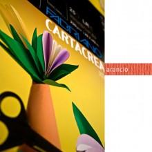 37243 - Blister 10fg Cartoncino 35x50Cm 220gr Arancio Cartacrea Fabriano -
