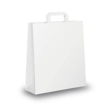 51344 - Blister 25 Shoppers 22x10x29Cm Bianco Neutro Piattina -