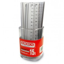 51595 - Barattolo 15 Righelli Alluminio 15Cm Arda -