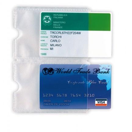 53988 - 5 Buste Porta Card 2P Trasp. A 2 Tasche 5,8x8,7Cm -