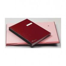 56604 - Libro Firma con Portaetichetta 18 Pagine 24x34Cm Rosso 618-D Fraschini -