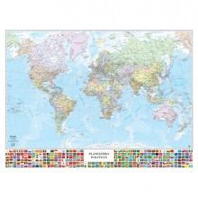 57416 - Carta Geografica Murale Planisfero con Bandiere 132x97Cm Belletti -