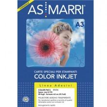 58169 - Poliestere Inkjet A3 Adesivo Trasparente Permanente 50fg 8426 Marri -