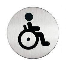 61378 - Pittogramma diam. 8,3Cm 'Toilette Disabili' In Acciaio -
