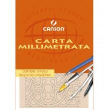 63705 - Blocco Carta Opaca Millimetrata 210X297Mm 10Fg 80Gr Canson 200005812 - CONF.25 -