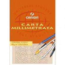 63706 - Blocco Carta Opaca Millimetrata 230X330Mm 10Fg 80Gr Canson 200005813 - CONF.25 -