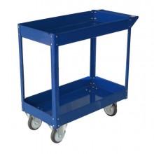 Carrello con Ruote In Acciaio Verniciato Blu 2 Ripiani 84x41Cm H 82Cm