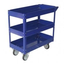 Carrello con Ruote In Acciaio Verniciato Blu 3 Ripiani 84x41Cm H 82Cm