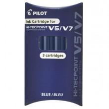 68102 - Set 3 Refill Roller Hi-Tecpoint V5-V7 Ricaricabile Blu Begreen Pilot -