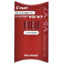 68103 - Set 3 Refill Roller Hi-Tecpoint V5-V7 Ricaricabile Rosso Begreen Pilot -