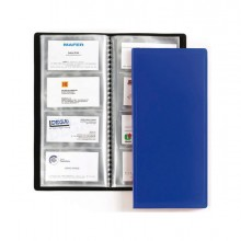 71930 - Portabiglietti Visita 20 Buste A 4 Tasche 12,7x27Cm Blu Favorit -