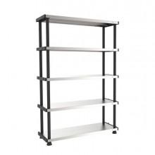 74485 - Scaffale ppl 5 Ripiani Metallo 100x45Cm grigio/Nero Terry -