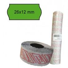 74898 - Pack 10 Rotoli 1000 Etich. 26x12mm Onda Verde Perm. Printex -