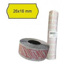 74904 - Pack 10 Rotoli 1000 Etich. 26x16mm Onda Giallo Perm. Printex -