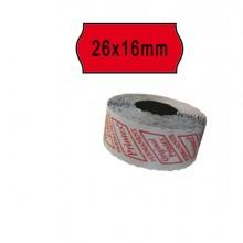 74905 - Pack 10 Rotoli 1000 Etich. 26x16mm Onda Rosso Perm. Printex -
