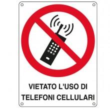 76900 - Cartello Alluminio 16,6x23,3Cm 'Vietato L'Uso Di Telefoni Cellulari' -