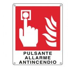 76918 - Cartello Alluminio 12x14,5Cm 'Pulsante Allarme Antincendio'' -