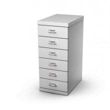 77056 - Cassettiera In Metallo A 6 Cassetti 29x43 - H67Cm grigio -