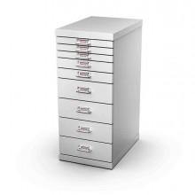 77057 - Cassettiera In Metallo A 9 Cassetti 29x43 - H67Cm grigio -