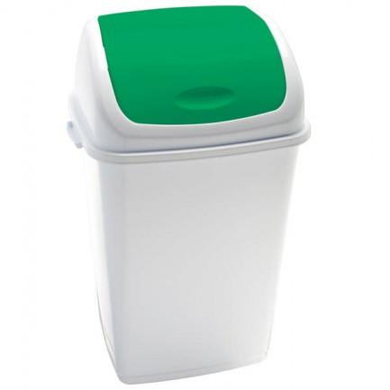82736 - Pattumiera A Basculante 50Lt Rif Basic Bianco/Verde -