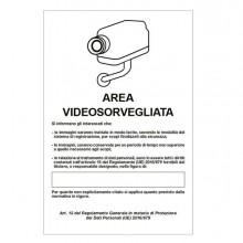 85545 - Cartello Alluminio 20x30Cm 'Area Videosorveglianza Con Registrazion' Rif.Gdpr' -