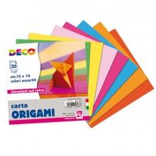 Confezione 20 fogli carta per origami 14x14cm colori assortiti CWR - CONF. 25 pz