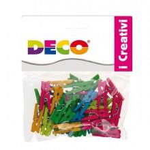 Confezione 45 Mollettine In Legno 25mm Colori Neon Cwr