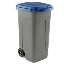 Bidone Mobile 100Lt grigio con Coperchio Blu Per Raccolta Differenziata