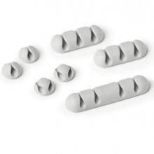 88876 - Mix di 7 Clip fermacavi adesivi - grigio - Cavoline Clip Mix Durable -