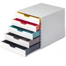Cassettiera 5 cassetti colorati Varicolor mix5 bianco ghiaccio Durable