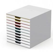 Cassettiera 10 cassetti colorati Varicolor mix10 bianco ghiaccio Durable