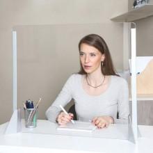 Schermo protettivo da scrivania H56xL66cm in acrilico grigio alluminio