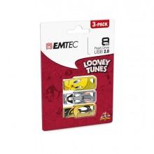 EMTD8GM752P3LT - Conf Da 3 Pz Memoria Usb2.0 8Gb Lt01 Titty-Bugs Bunny-Daffy Duck -