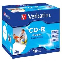 VERCDR70052STK - Scatola 10 Cd-R Datalifeplus Jewel Case 1x-52x 700Mb Stampabile Inkjet -