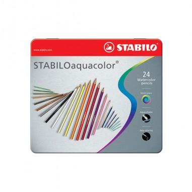 Pastelli colorati - Astuccio Metallo 24 Pastelli Stabilo Aquacolor 1624 -