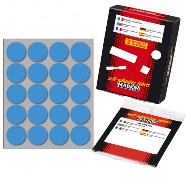 Etichette in foglietti - Etichetta Adesiva Blu Tonda diam.27mm (10Fogli x 20Etichette) Markin -