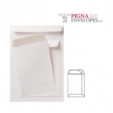 Buste a sacco - 100 Buste A Sacco Bianche 160x230mm 80gr Adesiva Competitor Pigna -