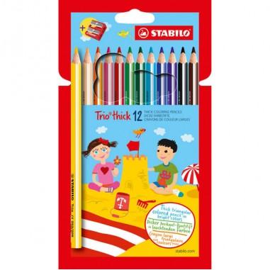 Pastelli colorati - Astuccio 12 Pastelli Trio Thick Colori Assortiti Stabilo -