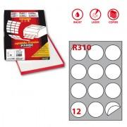 Etichette carta copy-laser-inkjet - Etichetta Adesiva R/310 Bianca 100fg A4 Tonda diam.60mm (12Et/fg) Markin -
