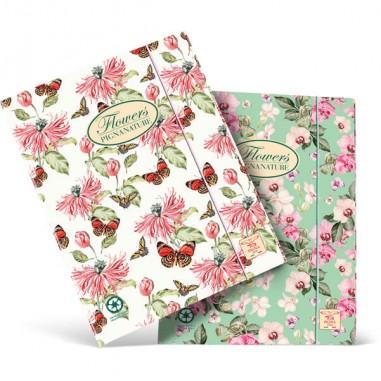 Cartelle con elastico - Cartella con elastico 26x34,5cm Pigna Nature Flowers - CONF.6 -
