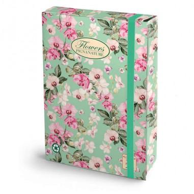 Cartelle con elastico - Cartella progetti con elastico 24x34cm dorso 7cm Pigna Nature Flowers - CONF.3 -