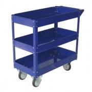 Carrelli per movimentazione - Carrello con Ruote In Acciaio Verniciato Blu 3 Ripiani 84x41Cm H 82Cm -