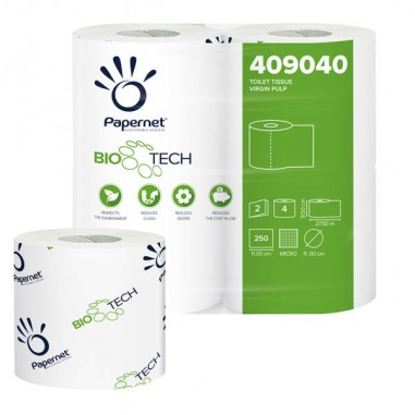 Carta igienica e distributori - Pacco 4Rt Carta Igienica Classica 2Veli 27,5Mt 250 Strappi Biotech Papernet -