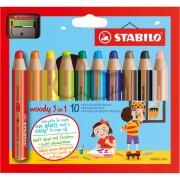 Pastelli colorati - Astuccio 10 Pastelli Stabilo Woody 3In1 + Temperino -