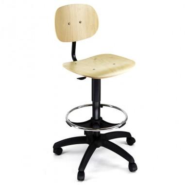 Sedute operative - Sedia Alta Tipo Tecnigrafo Eoe7 In Faggio Multistrato con Ruote -