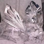 Sacchetti e fogli crystal paglietta - 25 Buste Regalo In ppl Metal Lucido 40x60Cm Argento Senza Patella Adesiva -