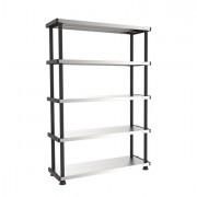 Contenitori multiuso e scaffali - Scaffale ppl 5 Ripiani Metallo 100x45Cm grigio/Nero Terry -