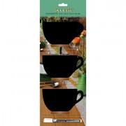 Lavagne nere e in tessuto - Set 3 Mini Lavagne Segnaposto Silhouette 'Tazza' Securit -