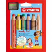 Pastelli colorati - Astuccio 6 Pastelli Stabilo Woody 3In1 + Temperino -